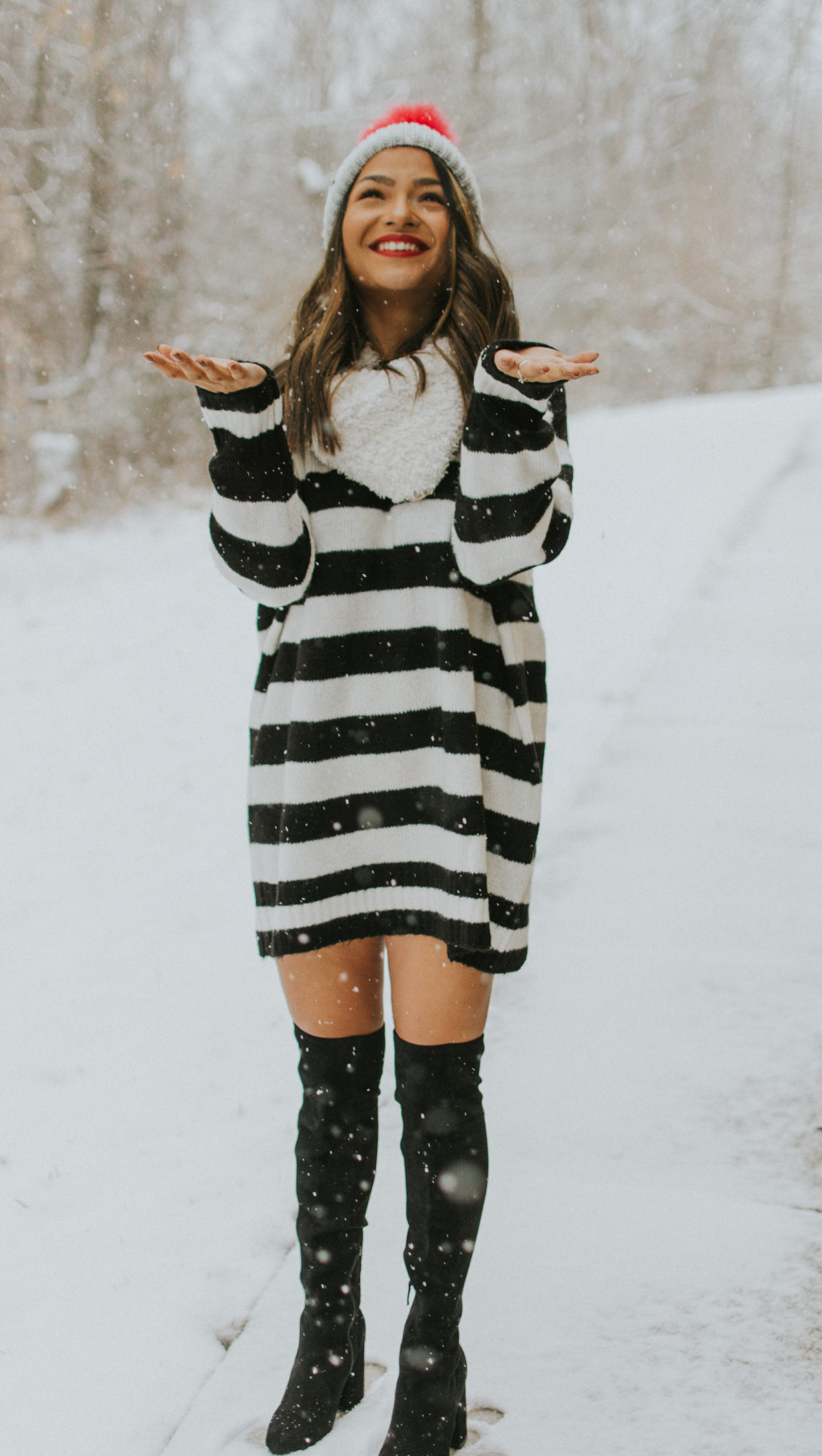 Zara Sweater Dress | Snow day | Over the Knee Boots